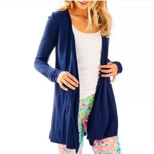Lilly Pulitzer Blue Wrena Waterfall Cardigan XL
